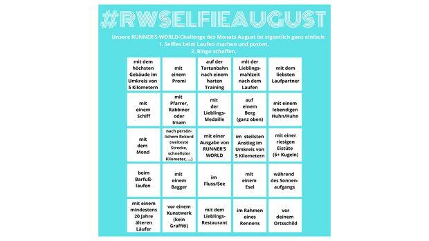 #RWSelfieAugust Bingo-Matrix
