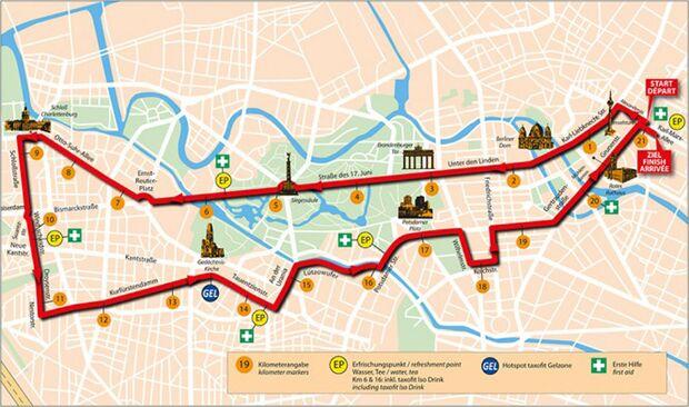 Berliner Halbmarathon Strecke (Stand 2016)