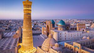 Bukhara Uzbekistan Kalyan Minaret and Madressa Sunset Twilight