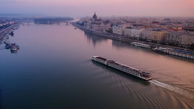 Calm Danube river in an early morning