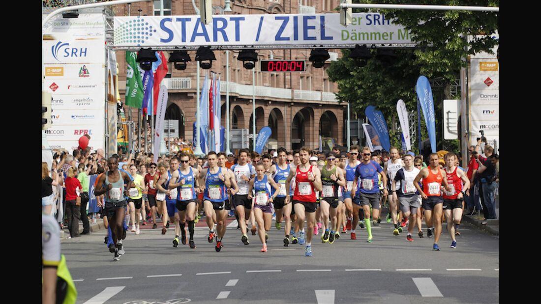 Dämmer-Marathon Mannheim Start 2018.