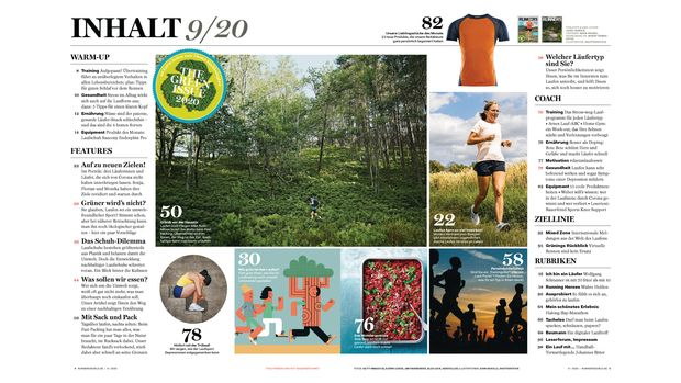 Das Inhaltsverzeichnis der RUNNER'S WORLD September-Ausgabe 09/20