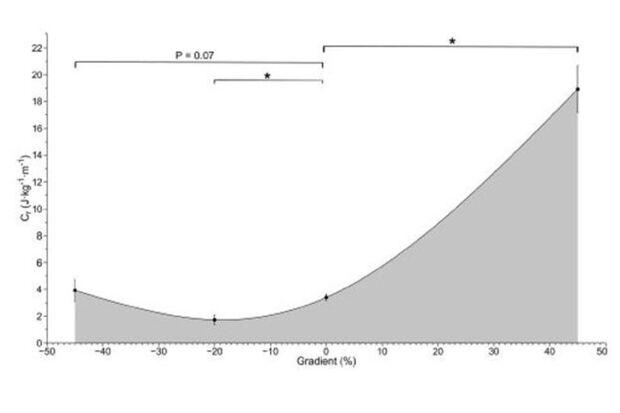 Der Energieverbrauch bei verschiedenen Steigungen.
