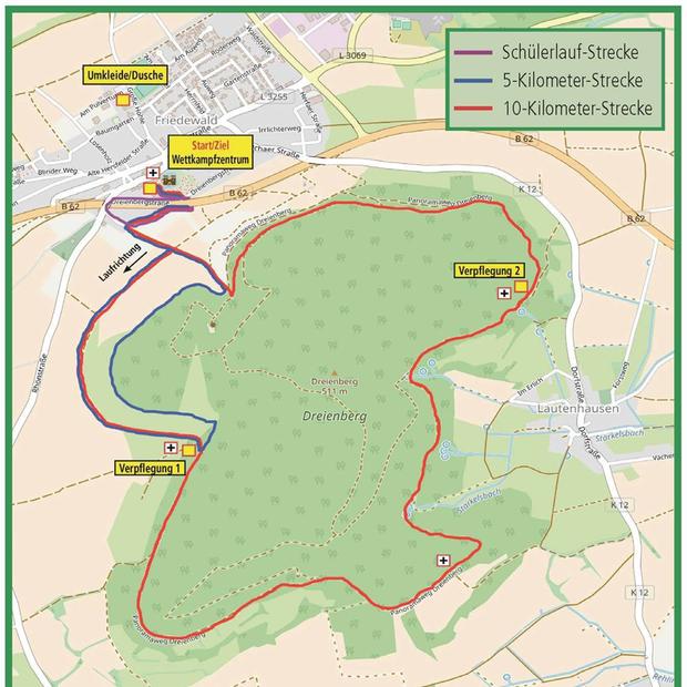 Die Strecken beim Dreienberg-Panoramalauf in Friedewald