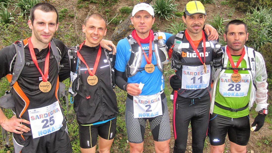 Die ersten Fünf der Gesamtwertung beim Sardinia Trail 2012