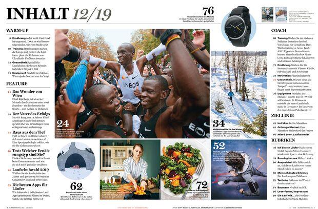 Diese Themen warten in der Dezember-Ausgabe 2019 von RUNNER'S WORLD auf Sie.
