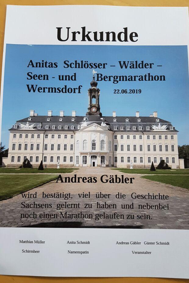 Diese Urkunde gab es nach dem Wermsdorf Marathon.
