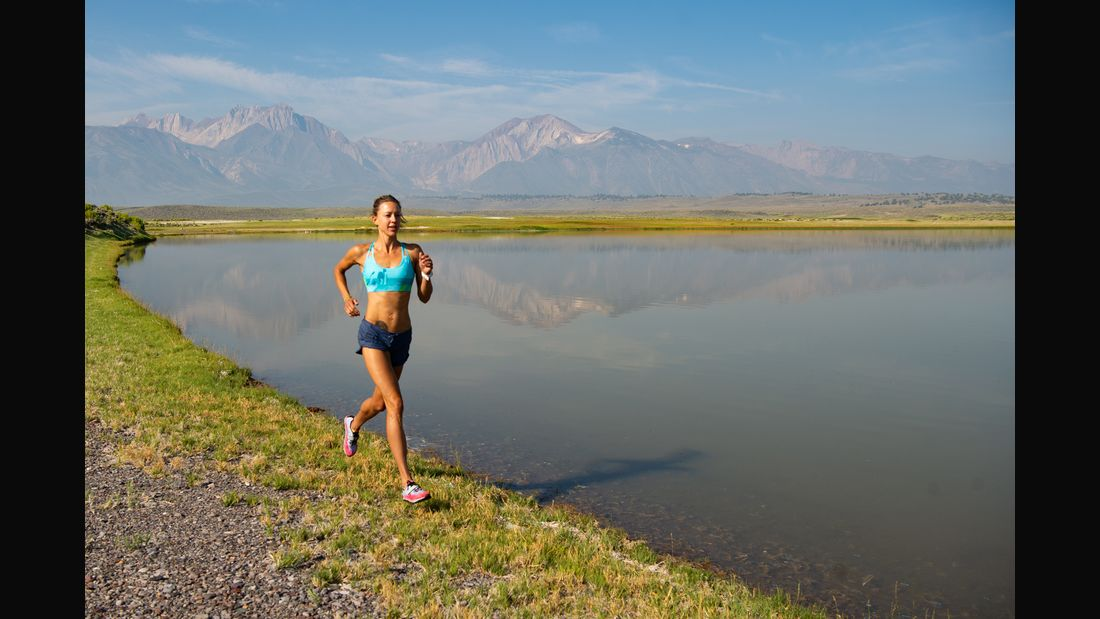 Elite Women Athlete Trail Running in the Sierra Mountains, California