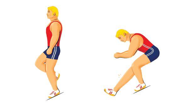 Exzentrisches Training: Kniebeuge auf einem Bein