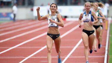 Gesa Krause gewinnt über 3000-Meter-Hindernis bei den Deutschen Meisterschaften in Nürnberg 2018.