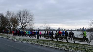 Gruppenlauf zur Marathonvorbereitung in Hamburg