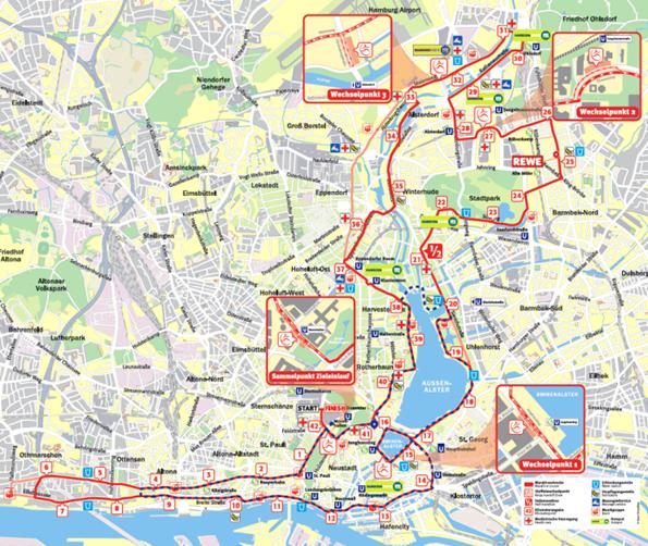 Hamburg-Marathon Streckenplan 2019