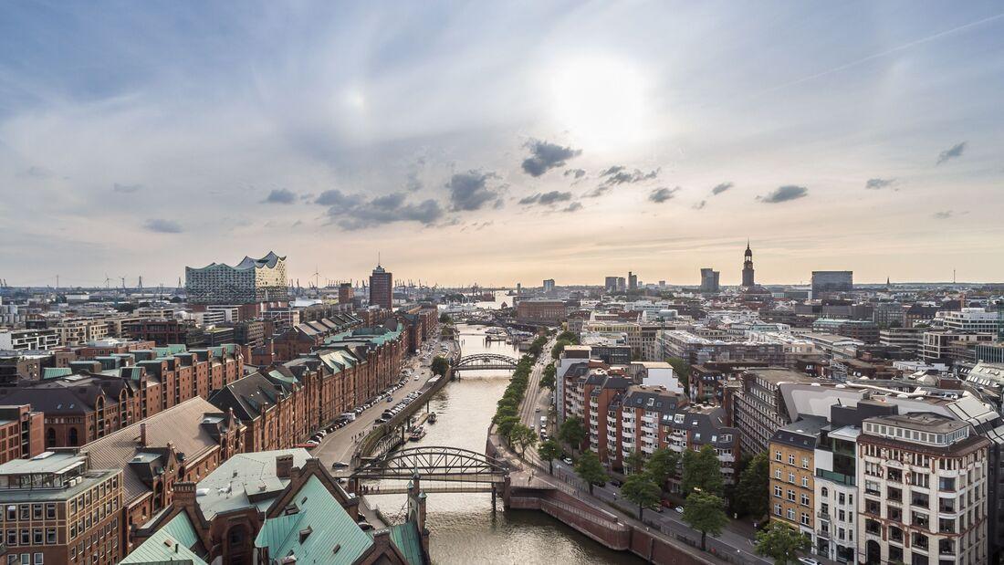 Hamburg Speicherstadt and Hafencity aerial view