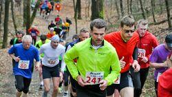 Ibbenbürener Klippenlauf: Das Läuferfeld an der zweiten Klippe