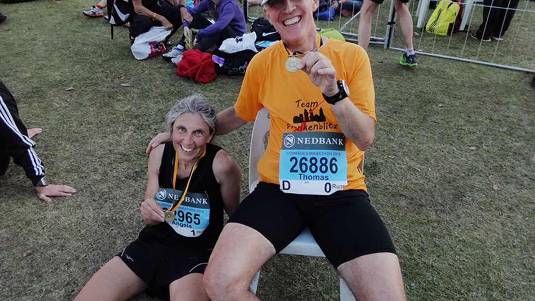Im Ziel des Comrades-Marathons