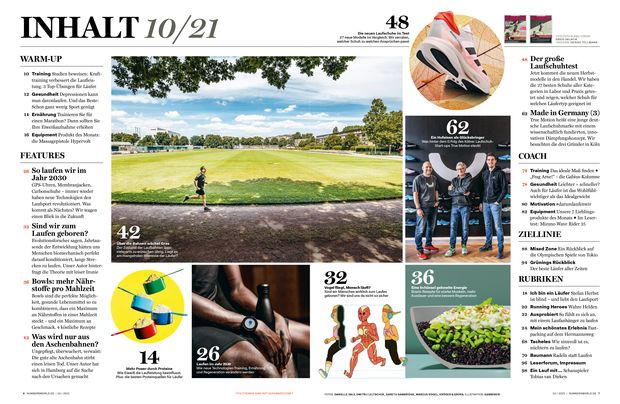 Inhaltsverzeichnis RUNNERS WORLD Oktober-Ausgabe 10/21