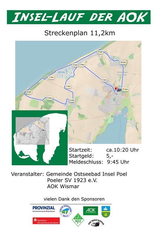 Insellauf Poel: Streckenplan 11,2 km
