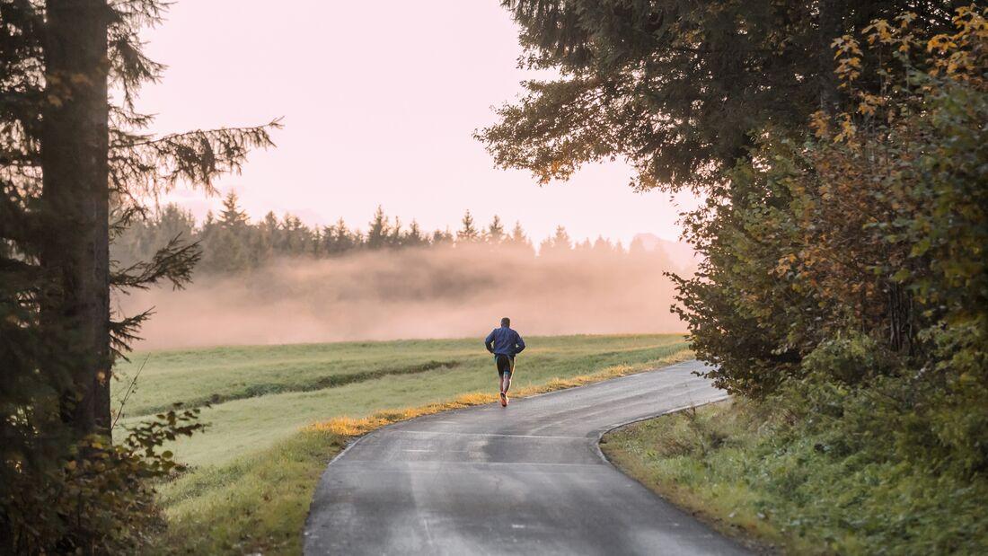 Langer Lauf am Morgen in der Natur