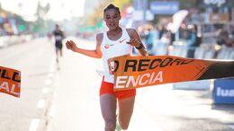 Letesenbet Gidey bei ihrem Halbmarathon-Weltrekord in Valencia