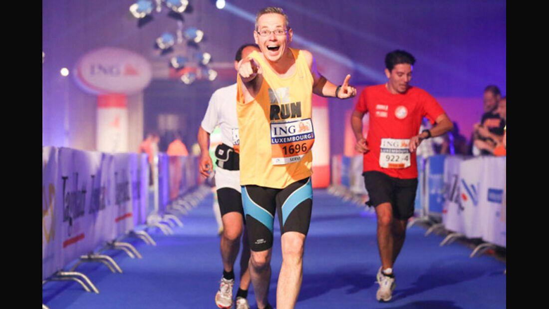 Luxemburg-Marathon Zieleinlauf