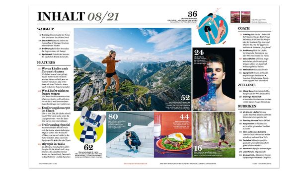 RUNNER'S WORLD August-Ausgabe 0821 Inhaltsverzeichnis