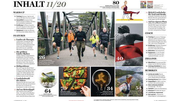 RUNNER'S WORLD November-Ausgabe 11/20 Inhaltsverzeichnis