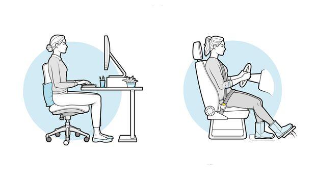 Richtige Sitzhaltung am Schreibtisch und im Auto