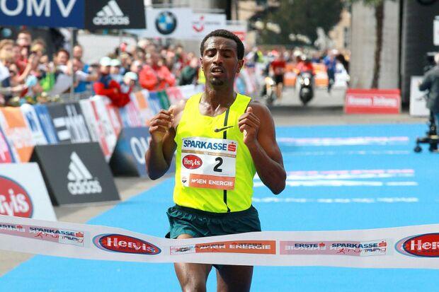 Sisay Lemma beim Wien-Marathon