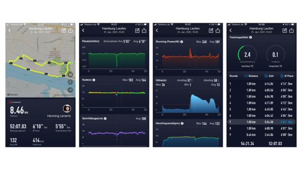 So wird ein Lauf mit der Coros Vertix in der Coros-App dargestellt.