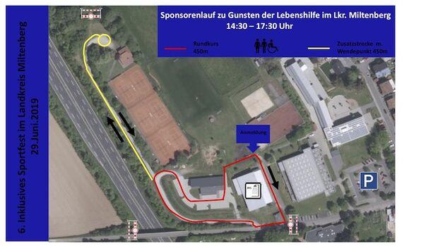 Sponsorenlaufs zugunsten der Lebenshilfe Klingenberg Strecke