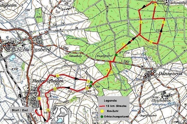 Streckenkarte zum Basaltlauf in Homberg