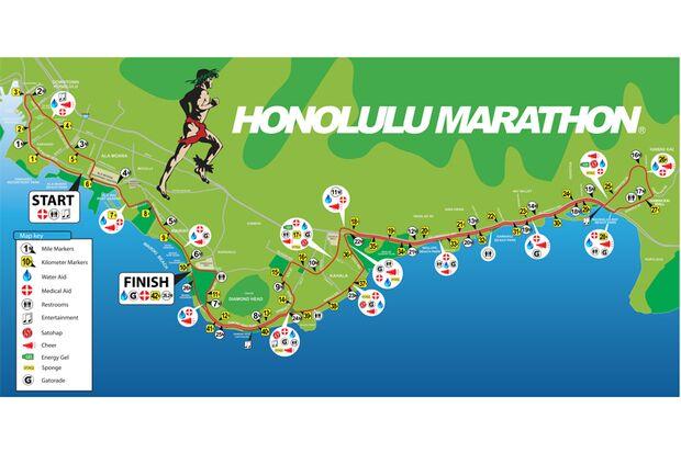 Streckenplan Honolulu Marathon