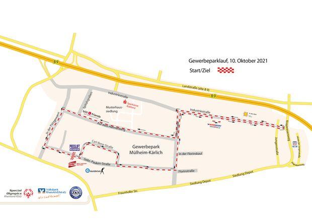 Streckenplan Sparkassen-Gewerbeparklauf