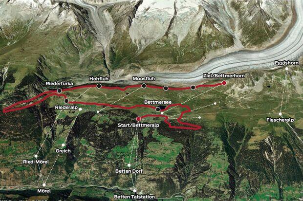 Streckenverlauf 30. Aletsch-Halbmarathon 2015