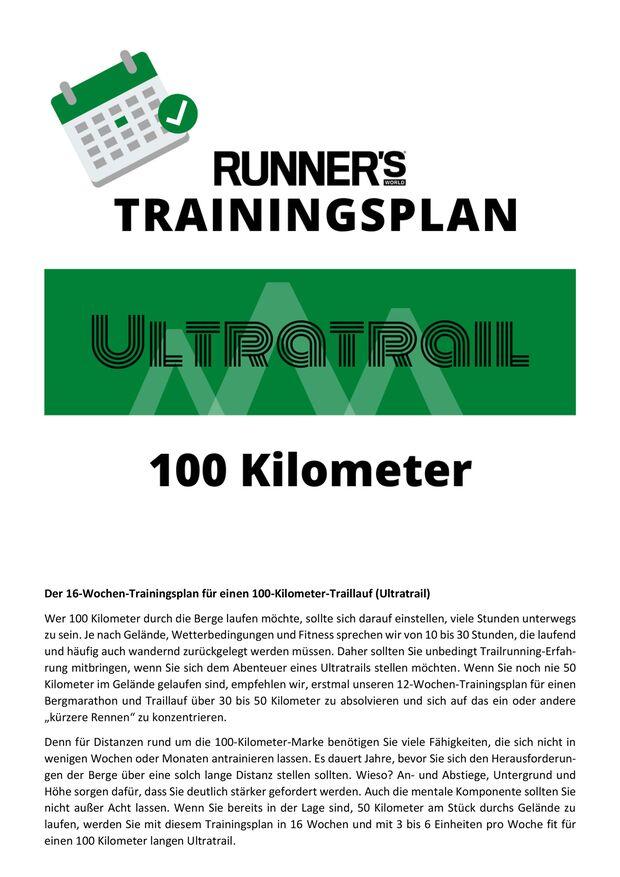 Trainingsplan 100 km Ultratrail Einleitung