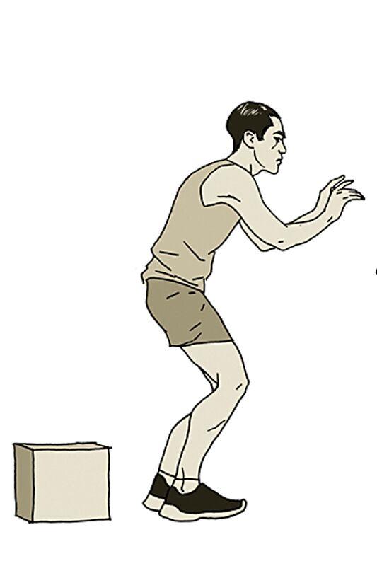 Übungen um Krämpfe zu vermeiden: Ab- und Vorwärts springen