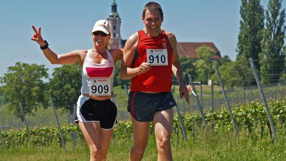 Uhldinger Pfahlbau-Halbmarathon: Birnau im Hintergrund