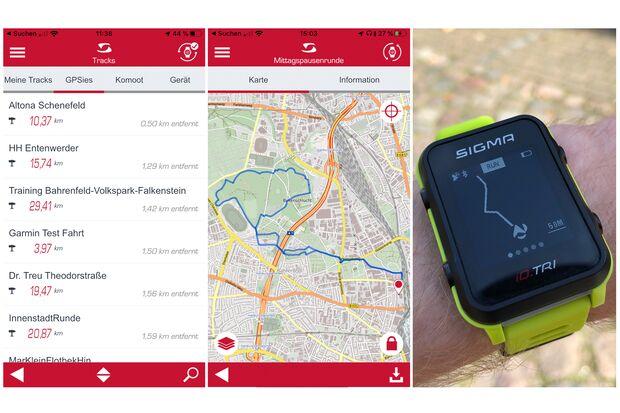 Um mit der Sigma iD. TRI zu navigieren, werden Strecken mittels App oder am PC auf die Uhr übertragen.
