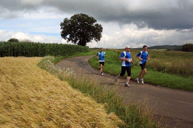 Vogelsberger Südbahnlauf: Auf der Halbmarathon/ 10 km Strecke 2 Kilometer vor dem Ziel mit Weitblick über das Tal