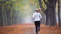 Women in Sport - rear view woman jogging alone in autumn